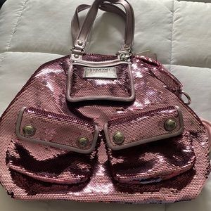 Rose sequin coach bag